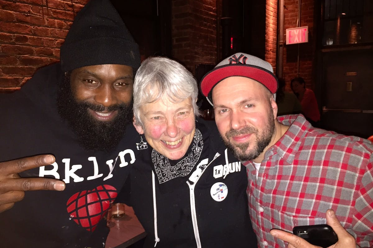 Left to right: CAM, legendary hip hop photographer Martha Cooper and Joshua Reynolds at Superfine in Dumbo