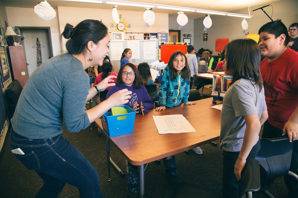 A member of the Flocabulary team visits students in Standing Rock, ND to lead on a writing workshop
