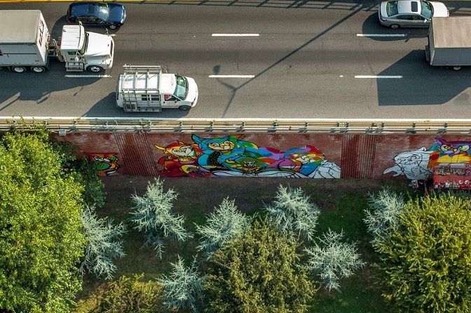 Overhead photo of York St Mural provided by Daniel Greenfeld