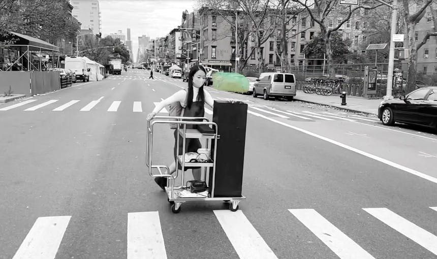 Six Foot Invisible Sculpture On Wheels Yeseul Song